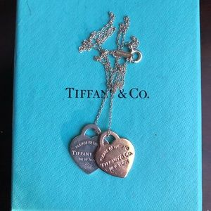 Tiffany and Co Two RTT Heart Tag Necklace
